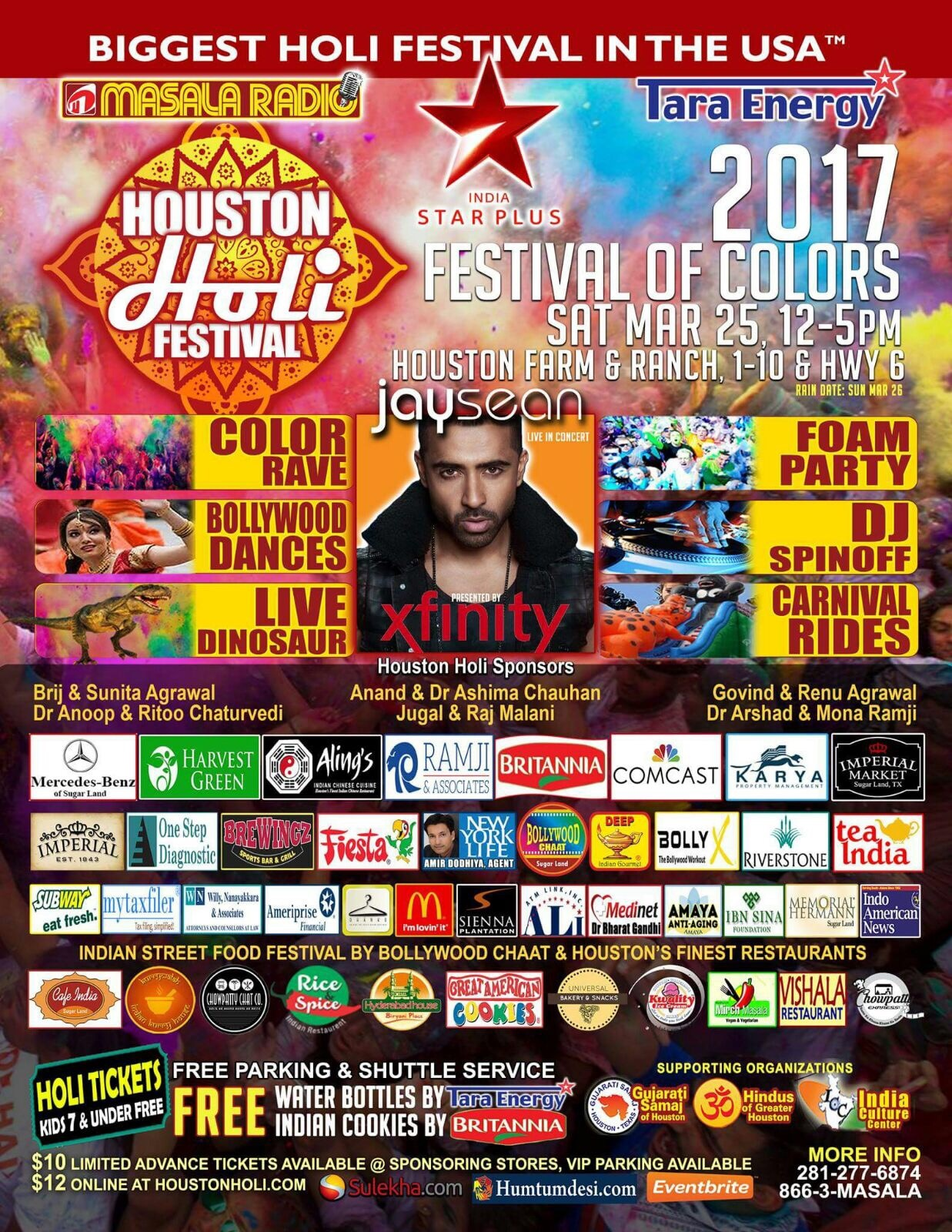 Holi (Festival of Colors) with UK artist Jay Sean live in concert: Sat. 3/25/17 @ Houston Farm & Ranch, 12-5pm