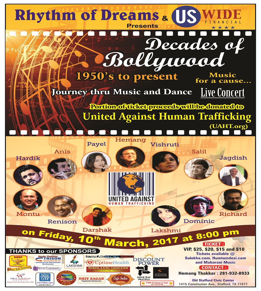 *Decades of Bollywood* on Friday 3/10/17, 8 pm @ Old Stafford Civic Center